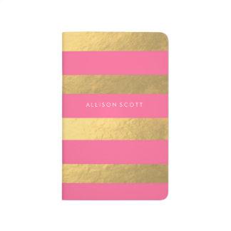 Rosa y diario personalizado oro cuadernos