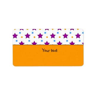 Rosa y diseño anaranjado de la estrella etiqueta de dirección