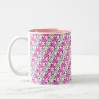 Rosa y diseño bonitos de la raya de la pedrería taza de dos tonos