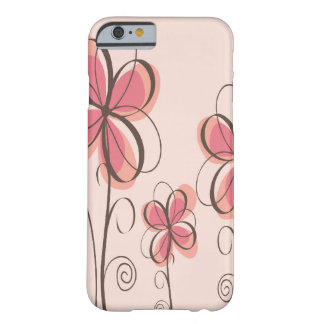 Rosa y diseño de las flores del Doodle de Brown Funda De iPhone 6 Barely There