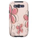 Rosa y diseño de las flores del Doodle de Brown Samsung Galaxy S3 Cobertura