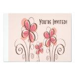 Rosa y diseño de las flores del Doodle de Brown Invitación 12,7 X 17,8 Cm