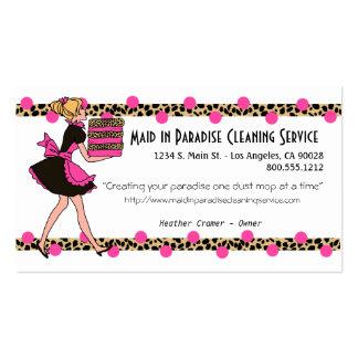 Rosa y diseño del servicio de la limpieza del plantilla de tarjeta personal