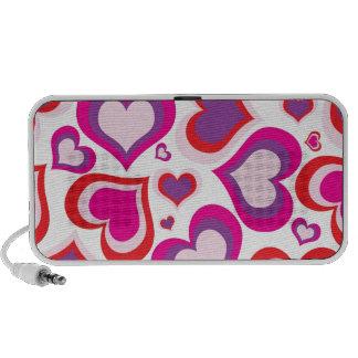 rosa y diseño moderno de los corazones femeninos p altavoces de viajar