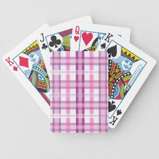 Rosa y diseño moderno púrpura de la tela escocesa baraja de cartas
