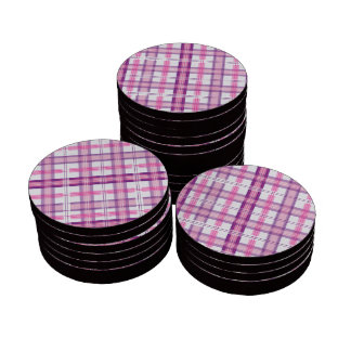 Rosa y diseño moderno púrpura de la tela escocesa fichas de póquer