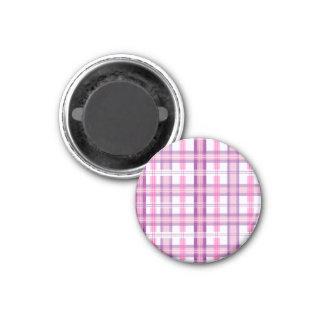 Rosa y diseño moderno púrpura de la tela escocesa imán redondo 3 cm