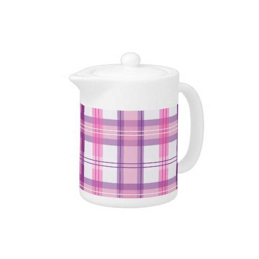 Rosa y diseño moderno púrpura de la tela escocesa