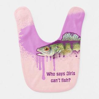Rosa y diseño púrpura. ¿Quién dice que los chicas Babero De Bebé