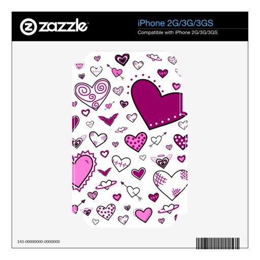 Rosa y Doodles preciosos de Purple Heart Calcomanía Para El iPhone 2G