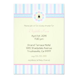 Rosa y ducha del Azul-Bebé Invitación 12,7 X 17,8 Cm