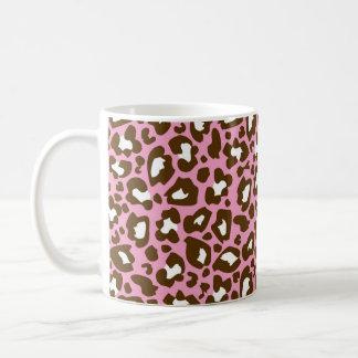 Rosa y estampado de animales manchado leopardo de  taza