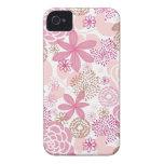 Rosa y estampado de flores de Brown iPhone 4 Case-Mate Cárcasa