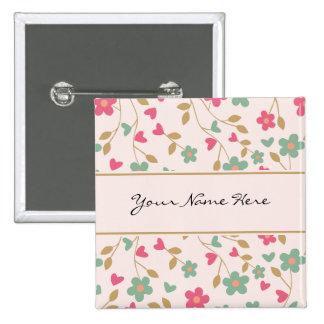 Rosa y estampado de flores femeninos coloridos de pin cuadrado