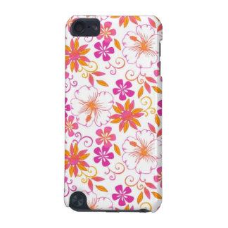Rosa y estampado de plores tropical anaranjado funda para iPod touch 5G