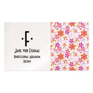 Rosa y estampado de plores tropical anaranjado tarjetas de visita