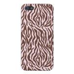 Rosa y estampado de zebra de Brown iPhone 5 Protector