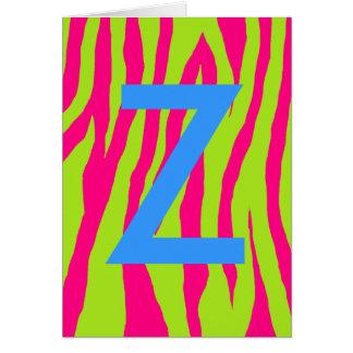 Rosa y estampado de zebra de la cal tarjeta de felicitación