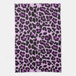 Rosa y estampado leopardo de moda púrpura toallas de cocina