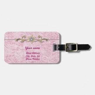Rosa y etiqueta del equipaje del oro etiquetas bolsas