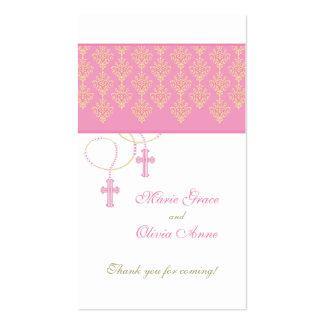 Rosa y etiqueta del favor del bautismo del oro - g tarjetas de visita