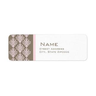 Rosa y etiqueta del remite del damasco de Brown Etiqueta De Remite