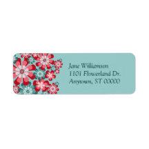 Rosa y etiquetas de dirección de encargo de las fl