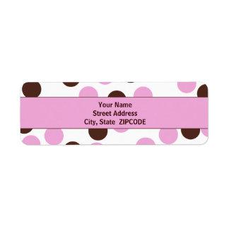 Rosa y etiquetas del dot address de la polca de etiqueta de remitente