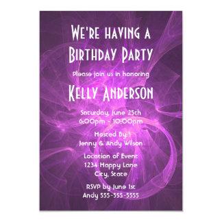 """Rosa y fiesta de cumpleaños abstracta púrpura del invitación 5"""" x 7"""""""