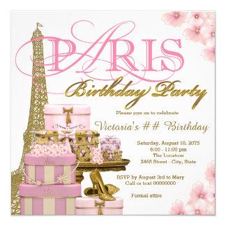 """Rosa y fiesta de cumpleaños de París del oro Invitación 5.25"""" X 5.25"""""""