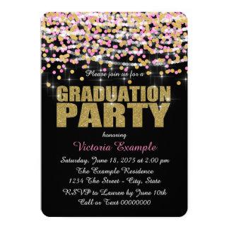 Rosa y fiesta de graduación del confeti del oro invitación 12,7 x 17,8 cm