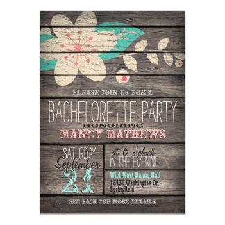 """Rosa y fiesta de madera rústico de Bachelorette de Invitación 5"""" X 7"""""""