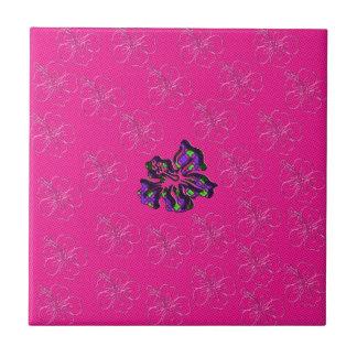 Rosa y flor floral púrpura del hibisco azulejo cuadrado pequeño