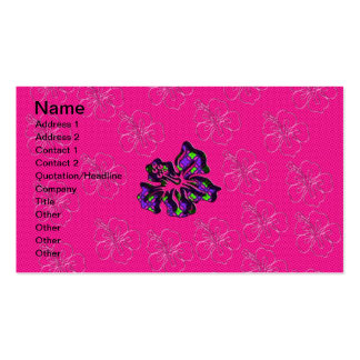 Rosa y flor floral púrpura del hibisco tarjetas personales