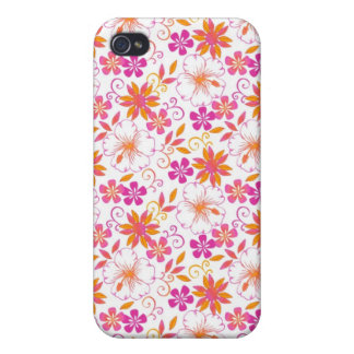 Rosa y flor tropical anaranjada Pern iPhone 4 Carcasas