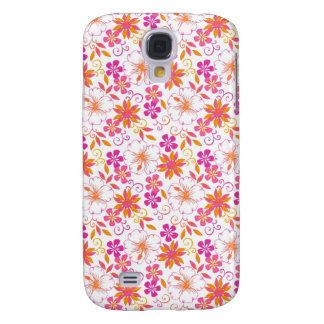 Rosa y flor tropical anaranjada Pern Funda Para Samsung Galaxy S4