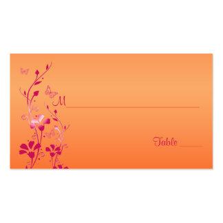 Rosa y floral anaranjado con las mariposas Placeca Tarjetas De Visita