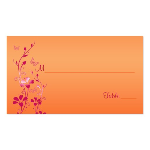 Rosa y floral anaranjado con las mariposas tarjetas de visita