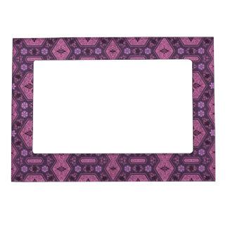 Rosa y floral geométrico retro púrpura marcos magnéticos