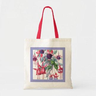 Rosa y flores fucsias colgantes púrpuras bolsa tela barata