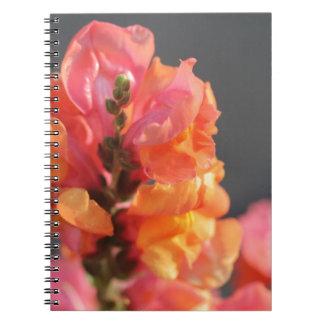 Rosa y flores tropicales anaranjadas notebook