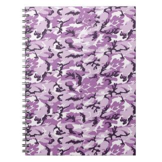 Rosa y fondo púrpura del camuflaje spiral notebooks