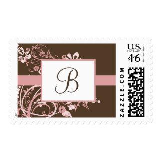 Rosa y franqueo floral marrón del monograma
