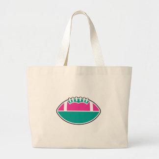 rosa y gráfico del icono del fútbol del trullo bolsa tela grande