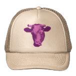 Rosa y gráfico retro púrpura de la vaca gorra