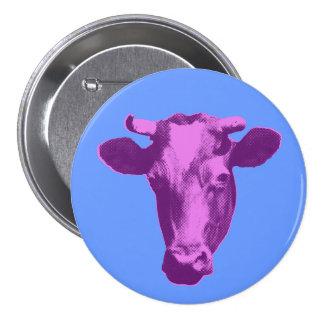 Rosa y gráfico retro púrpura de la vaca pin redondo de 3 pulgadas
