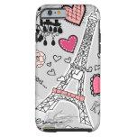 Rosa y gris florales del negro de la torre Eiffel Funda De iPhone 6 Tough
