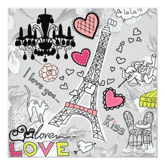 """Rosa y gris florales del negro de la torre Eiffel Invitación 5.25"""" X 5.25"""""""
