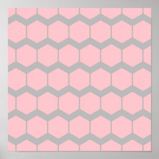 Rosa y gris, modelo de zigzag geométrico retro impresiones