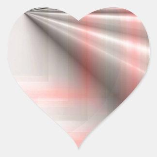 Rosa y gris rizados pegatina en forma de corazón